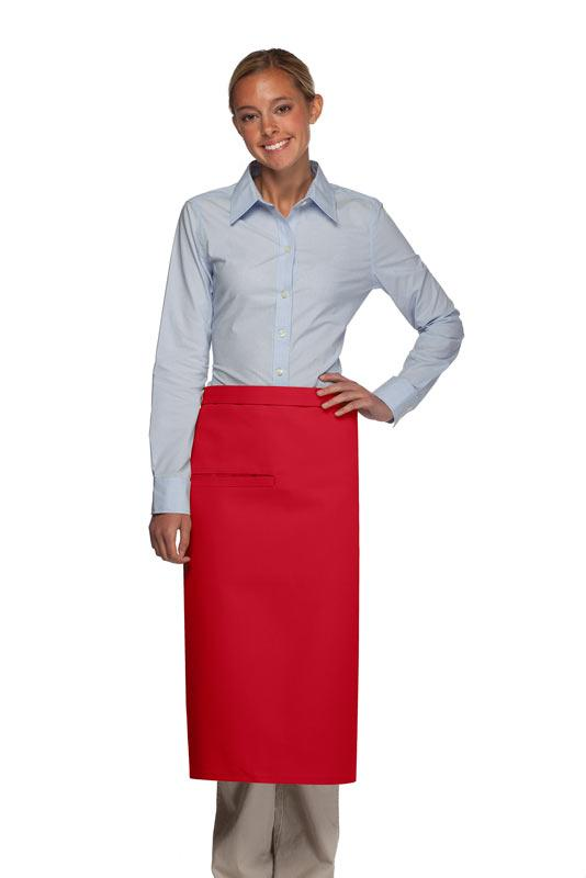 Red 1 Inset Pocket Full Bistro Apron
