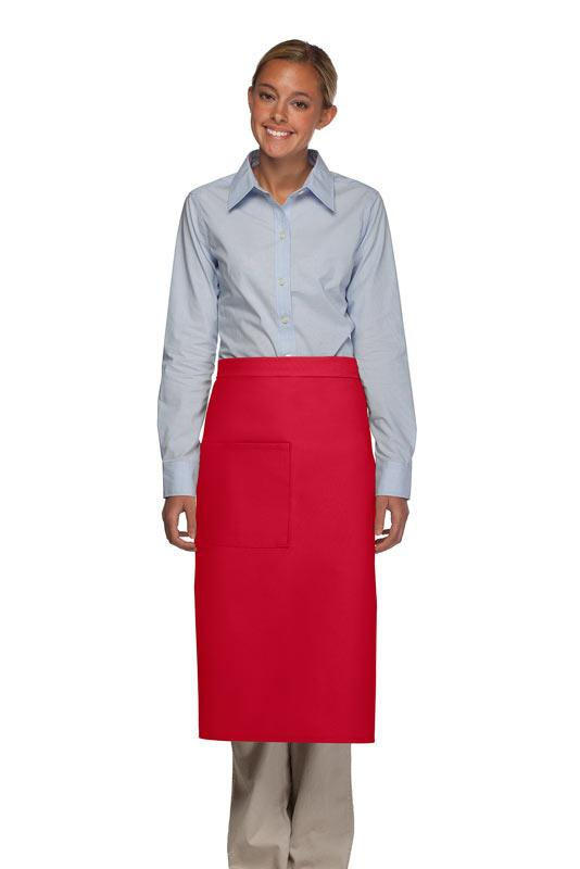 Red 1 Pocket Full Bistro Apron