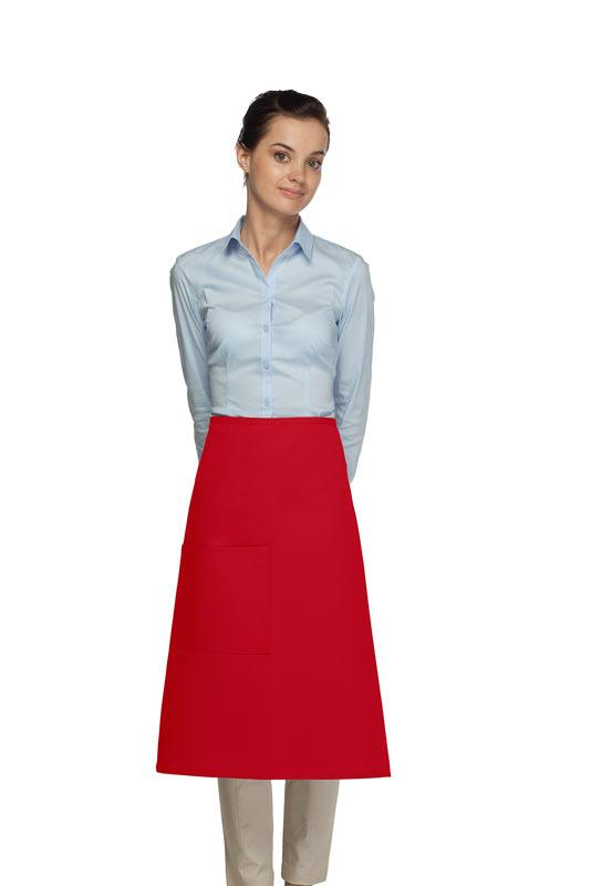Red 1 Pocket Three Quarter Bistro Apron
