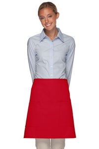 Red 2 Patch Pocket Half Bistro Apron