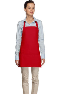 Red 3 Pocket Bib Apron