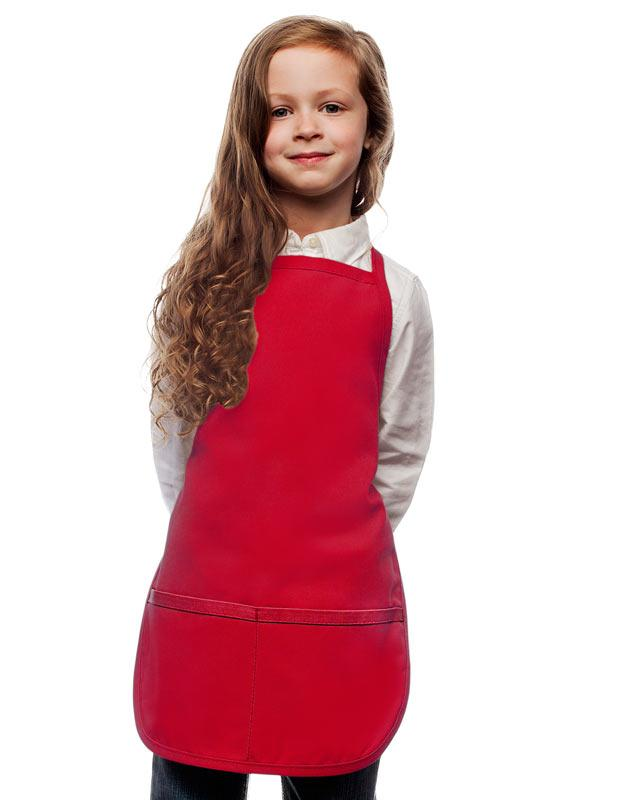 Red Kids 2 Pocket Bib Apron