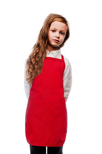Red Kids No Pocket Bib Apron