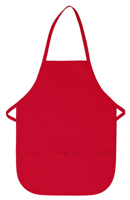 Red Kid's XL Bib Apron (2 Pockets)
