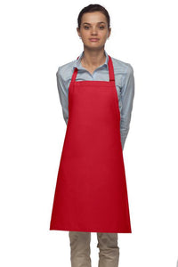 Red No Pocket Adjustable Bib Apron
