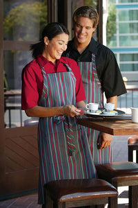 Red Multi-Striped Bib Apron