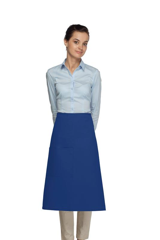Royal Blue 1 Pocket Three Quarter Bistro Apron