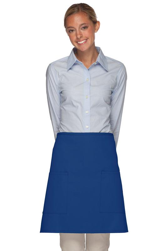 Royal Blue 2 Patch Pocket Half Bistro Apron