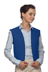 Royal Blue No Buttons Unisex Vest with No Pockets