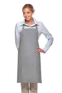 Silver 2 Patch Pocket Adjustable Bib Apron