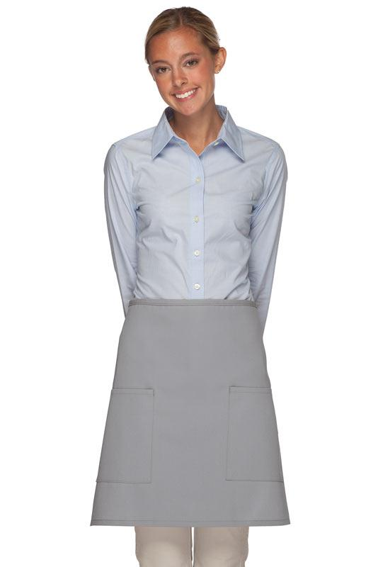 Silver 2 Patch Pocket Half Bistro Apron