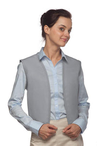 Silver No Buttons Unisex Vest with No Pockets