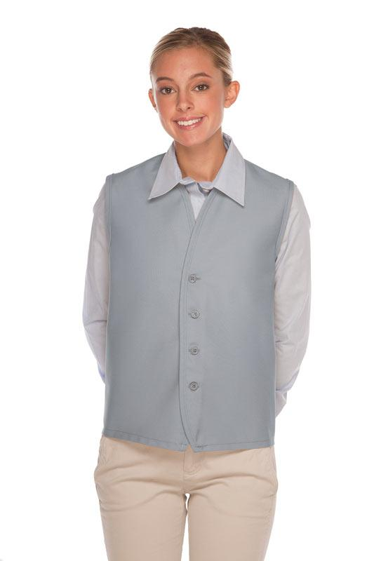 Silver 4-Button Unisex Vest with No Pockets