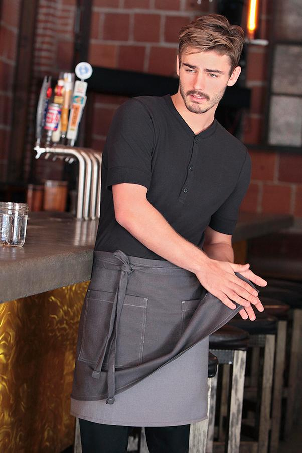 Soho Frost and Grey Contrast Half Bistro Apron