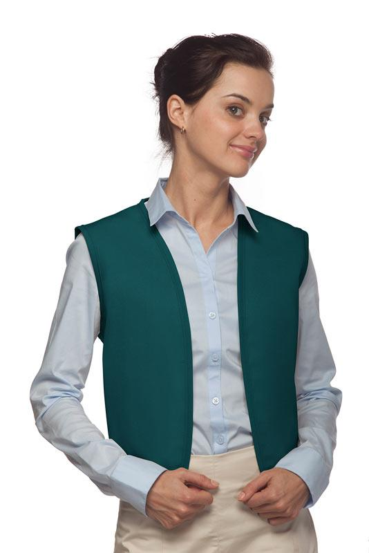 Teal No Buttons Unisex Vest with No Pockets