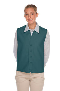 Teal 4-Button Unisex Vest with No Pockets