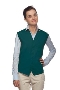 Teal 4-Button Unisex Vest with 1 Pocket