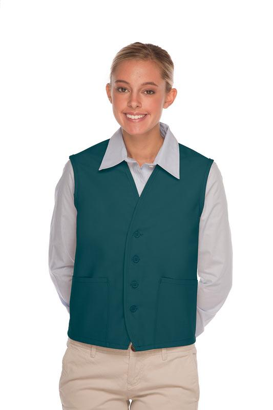 Teal 4-Button Unisex Vest with 2 Pockets