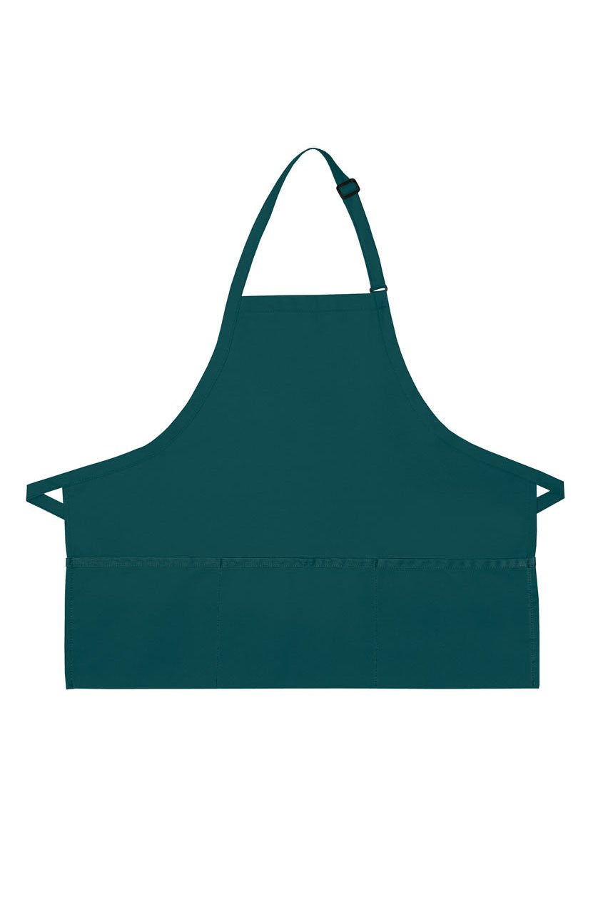 Teal Deluxe Bib XL Adjustable Apron (3 Pockets)