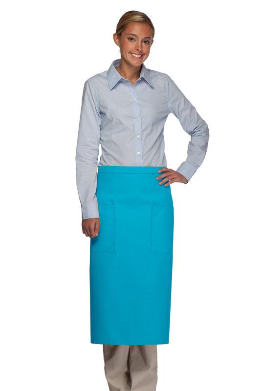 Turquoise 2 Patch Pocket Full Bistro Apron
