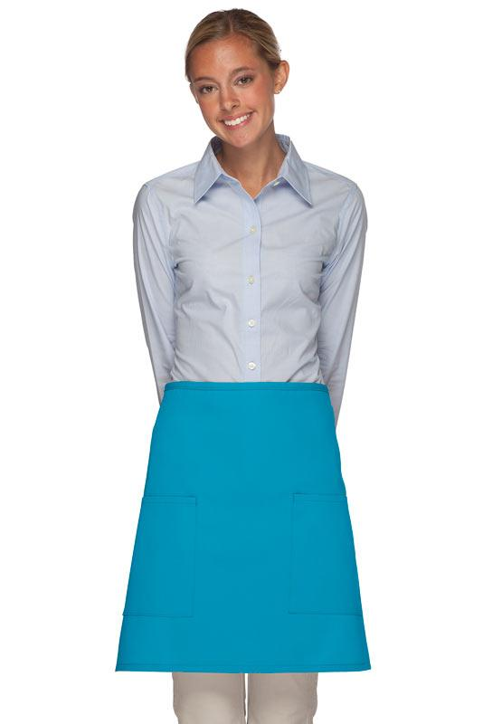 Turquoise 2 Patch Pocket Half Bistro Apron