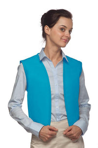 Turquoise No Buttons Unisex Vest with No Pockets