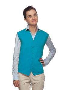 Turquoise 4-Button Unisex Vest with 1 Pocket