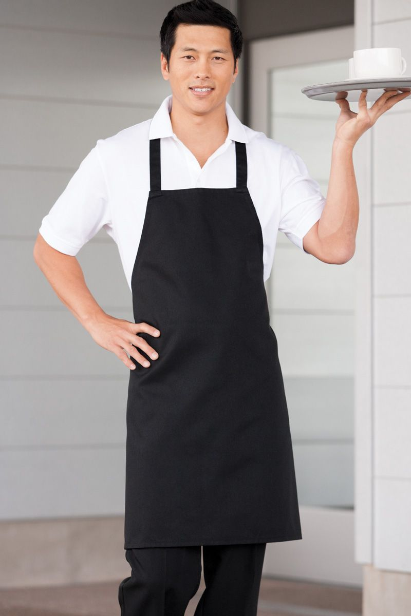 Black Bib Apron (No Pockets)