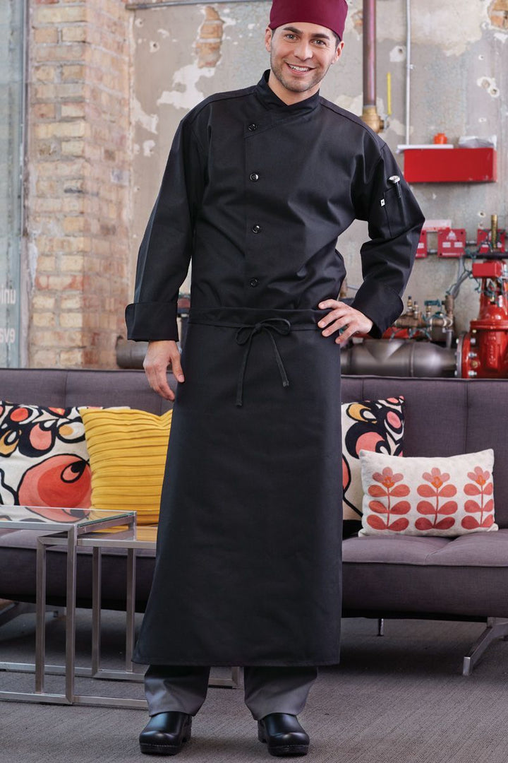 Black 4-Way Long Apron (No Pockets)
