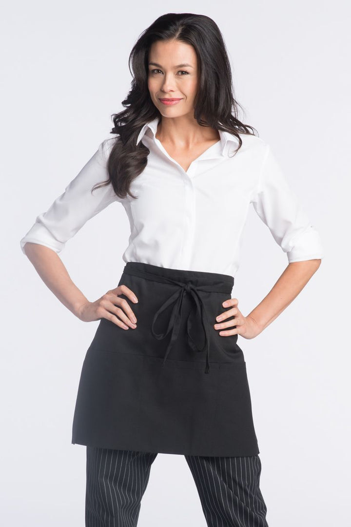 Black Half Bistro Apron (3 Pockets)