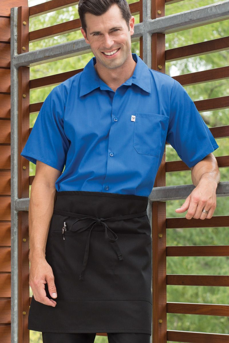 Black Half Bistro Apron (2 Pockets)