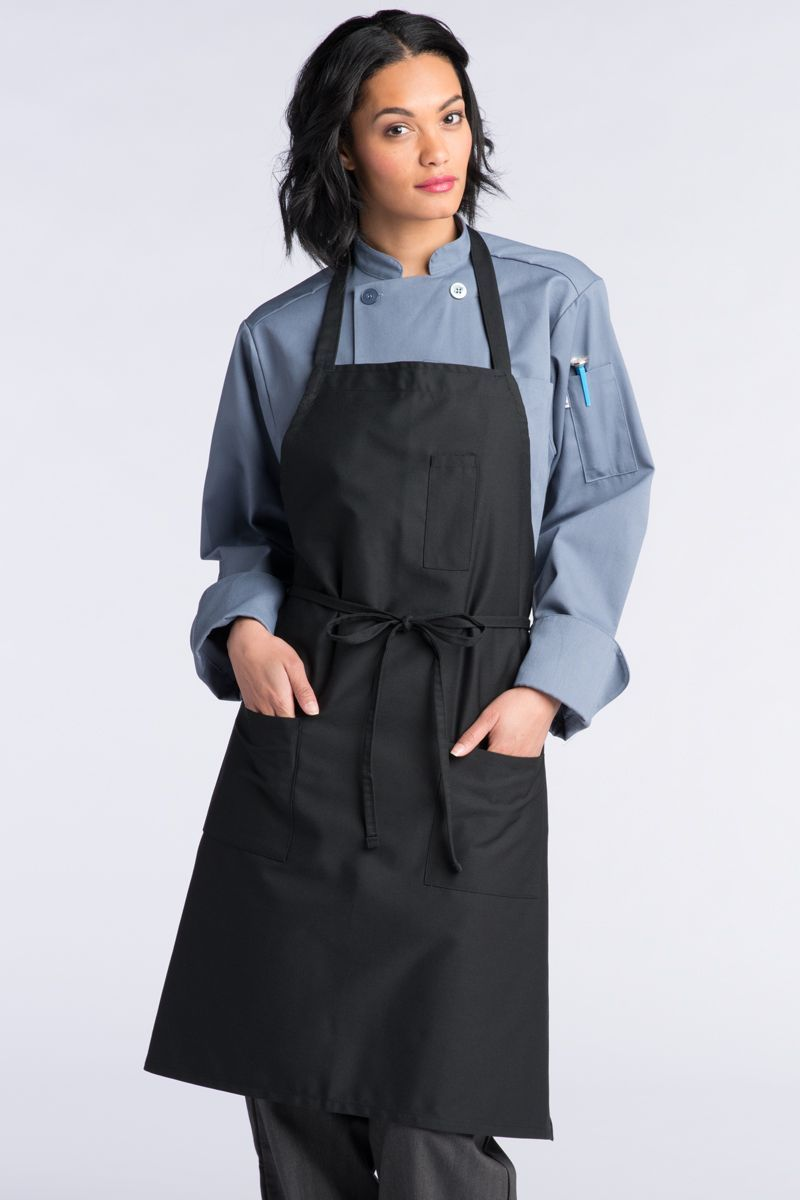 Black Adjustable Bib Apron (3 Pockets)