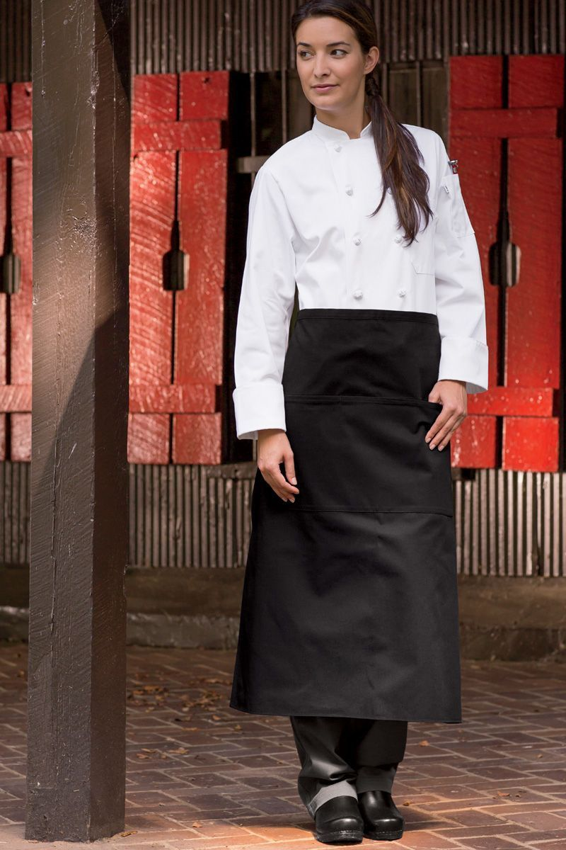 Black Reversible Full Bistro Apron (3 Pockets)