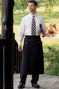 Black Full Bistro Apron (2 Patch Pockets)