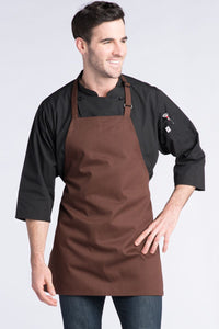 Brown Adjustable Bib Apron (No Pockets)