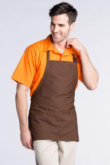 Brown Bib Adjustable Apron (3 Pockets)