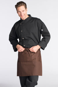 Uncommon Threads Brown 3-Pocket Half Bistro Apron