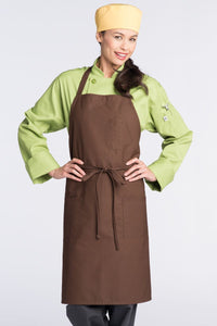 Brown Bib Apron (3 Patch Pockets)
