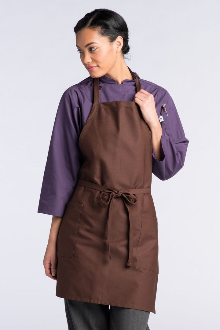 Brown Bib Adjustable Apron (2 Patch Pockets)