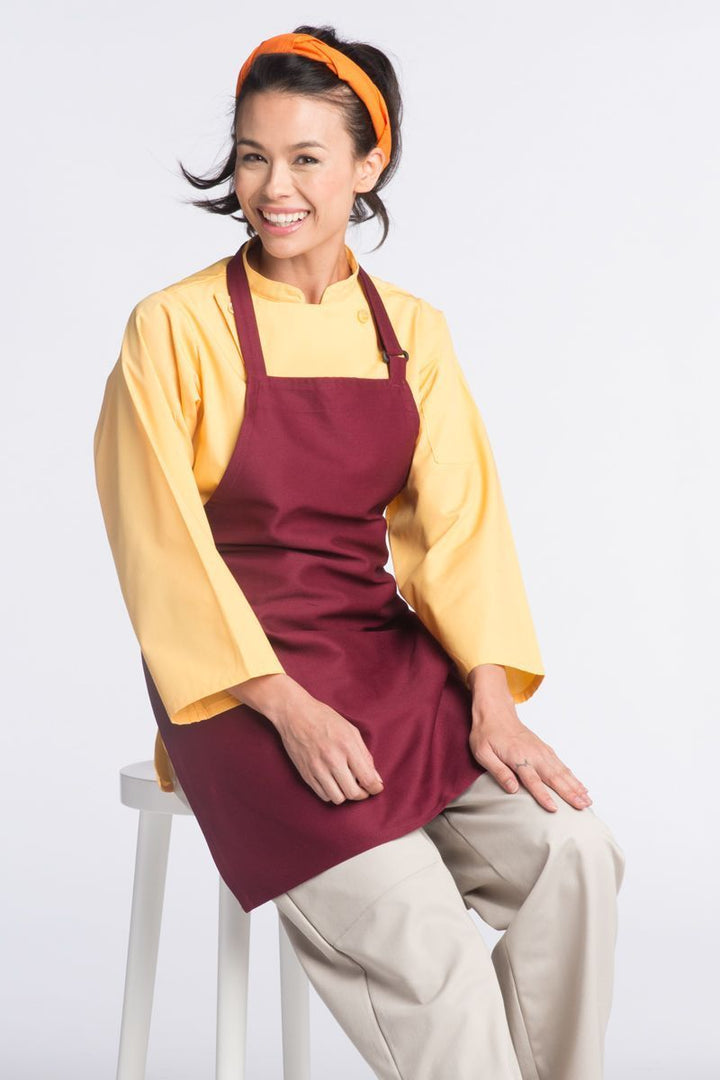 Burgundy Bib Adjustable Apron (No Pockets)