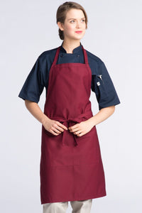 Burgundy Adjustable Butcher Apron (2 Pockets)