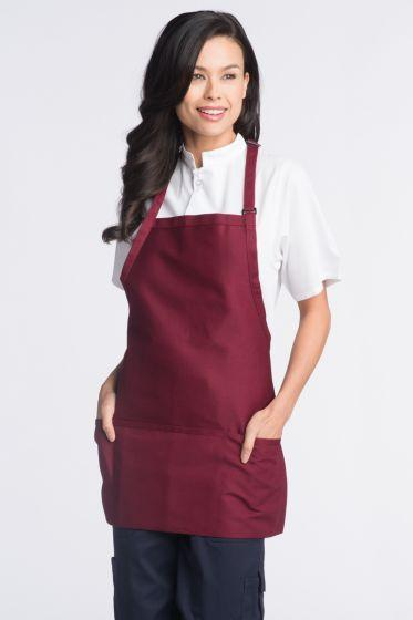 Burgundy Bib Adjustable Apron (3 Pockets)