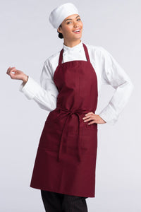 Burgundy Bib Apron (3 Patch Pockets)