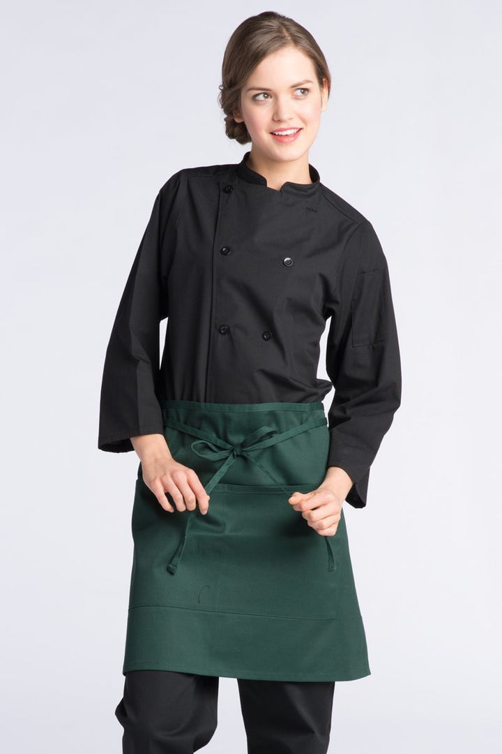 Hunter Green Half Bistro Apron (2 Pockets)
