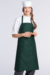 Hunter Green Bib Apron (3 Patch Pockets)