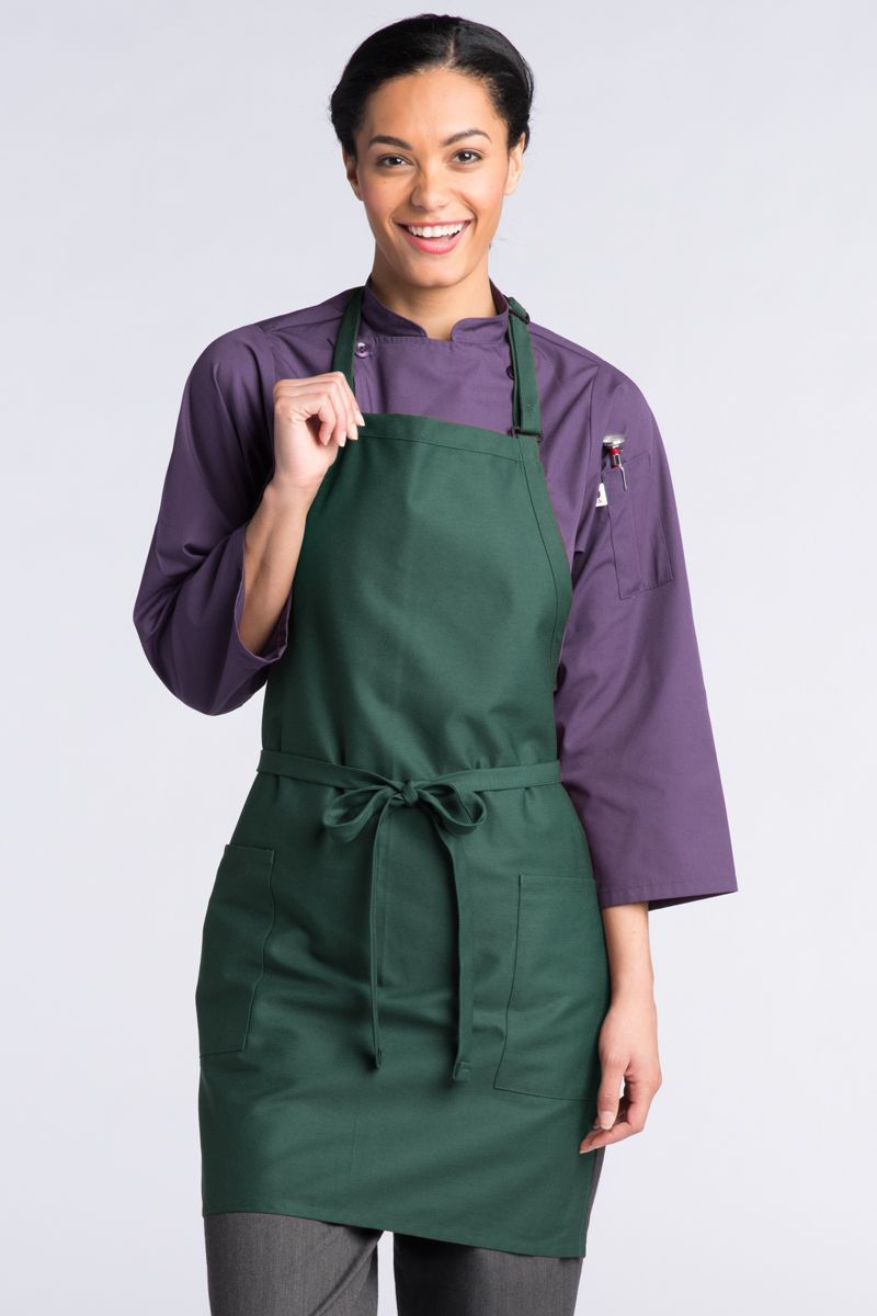 Hunter Green Bib Adjustable Apron (2 Patch Pockets)