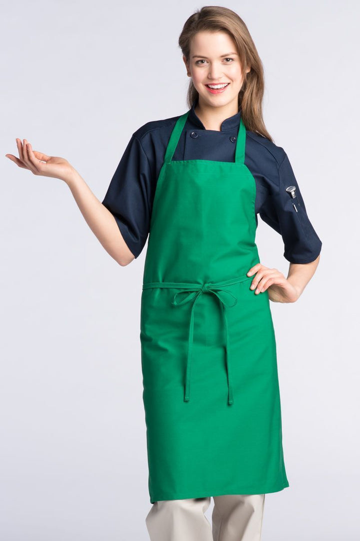 Kelly Green Bib Apron (No Pockets)