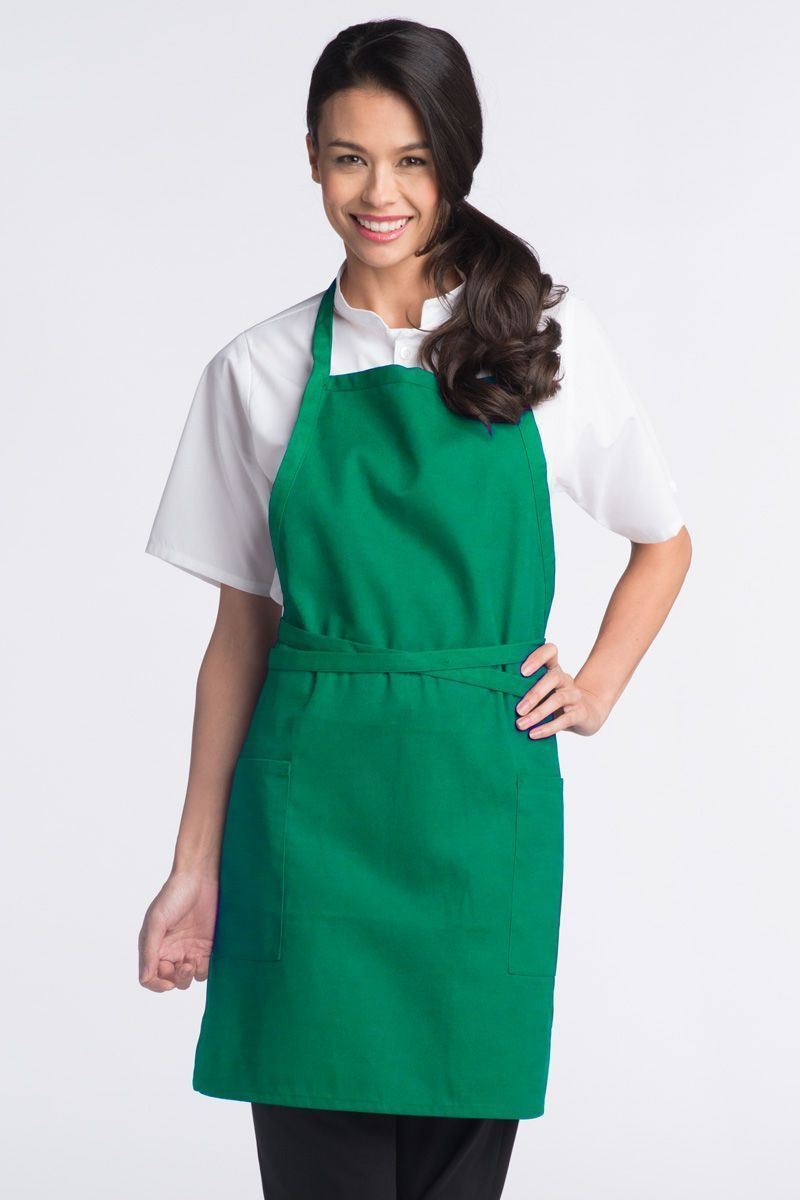 Kelly Green Bib Adjustable Apron (2 Patch Pockets)