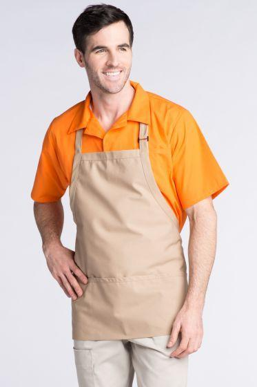Khaki Bib Adjustable Apron (3 Pockets)