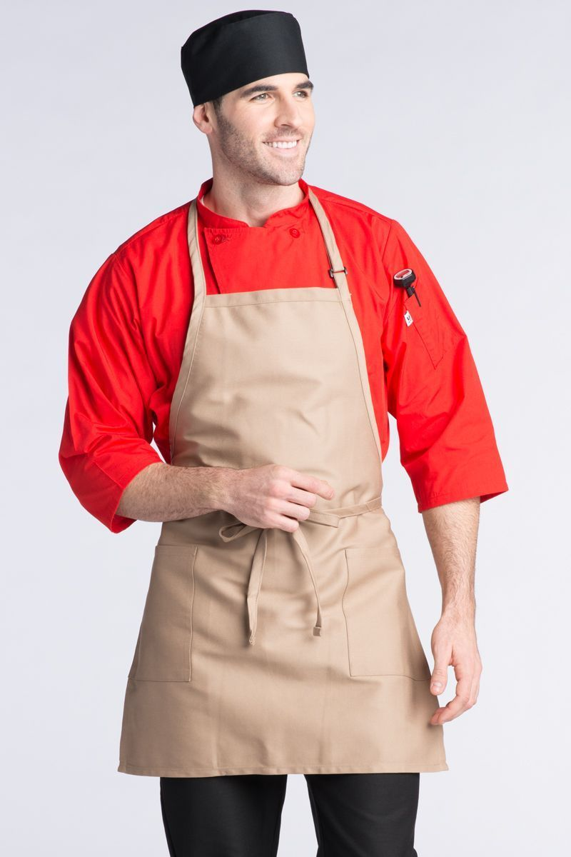Khaki Bib Adjustable Apron (2 Patch Pockets)